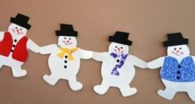 Гирлянда снеговики из бумаги