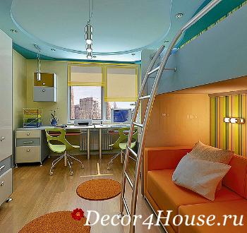 Дизайн детская комната с двухъярусной кроватью 5
